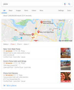 Google Maps 4 pack for pizza search results