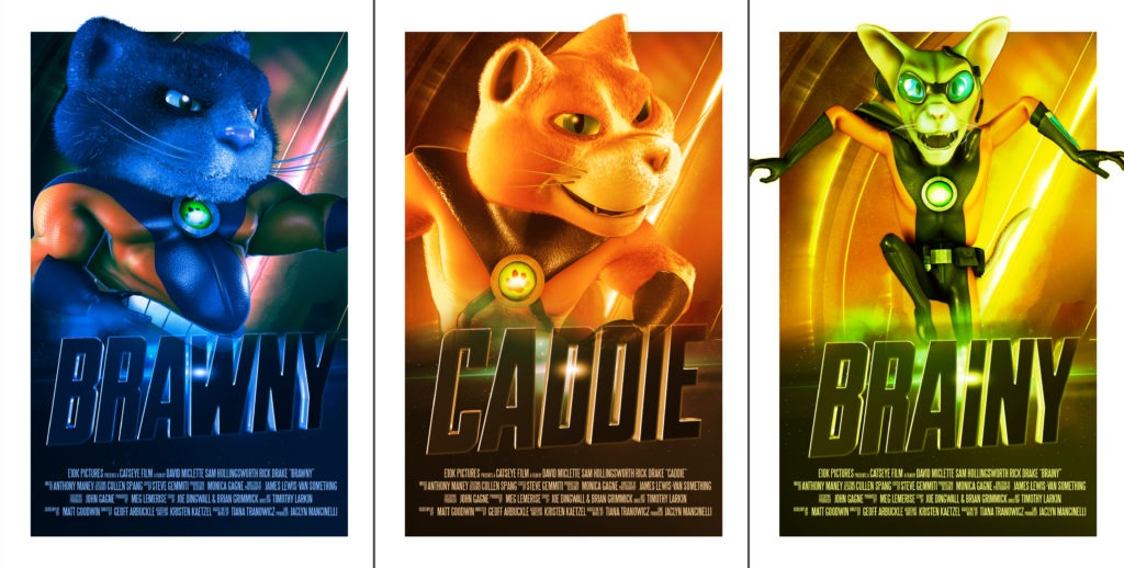 three superhero posters with the Catseye Pest Control mascots Brawny, Caddie, and Brainy