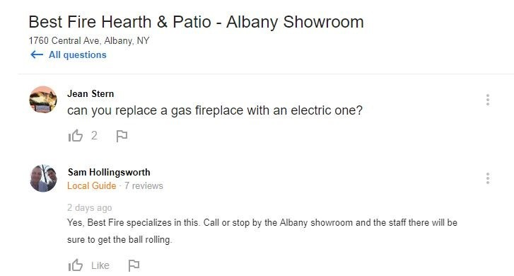 Google Questions and Answers for Best Fire Heath & Patio showing an answer given by a local guide