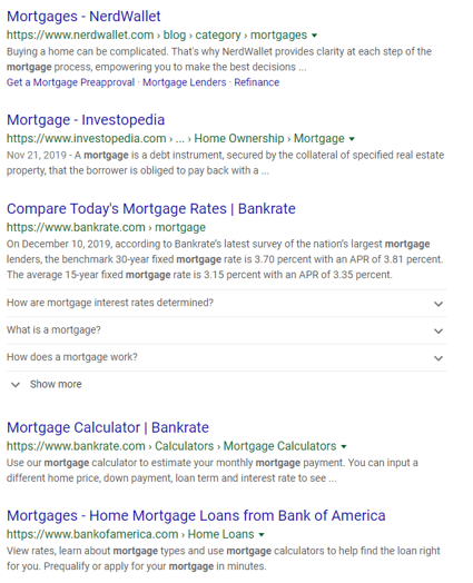 Google search results page for mortgages with URLs
