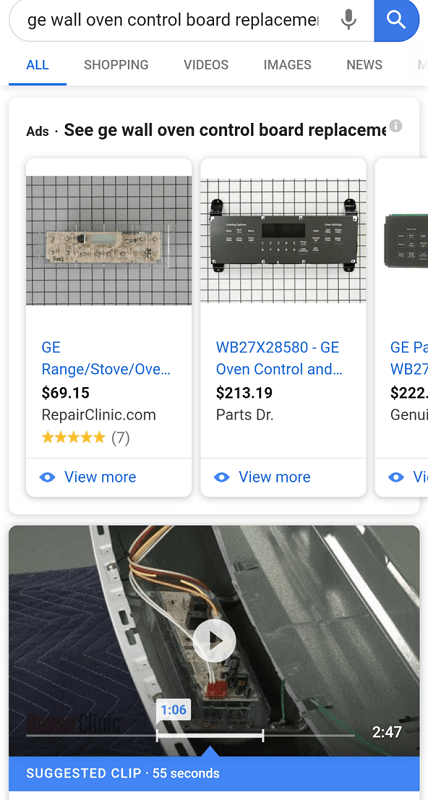 Google search result page showing a wall oven replacement video with a suggested clip highlighted