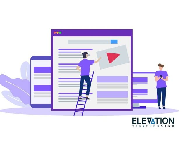 illustration showing a person wearing purple building an SEO video strategy for optimized search results