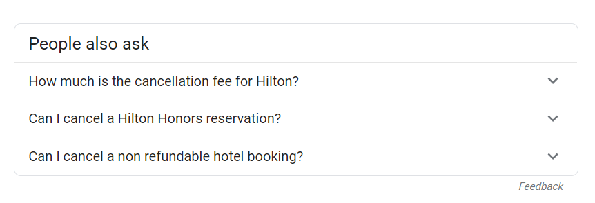 screenshot of zero-click search results for hotel's cancelation policy during coronavirus