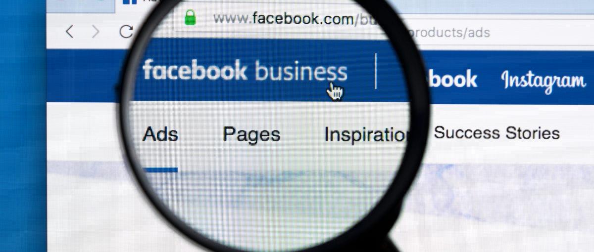 facebook business manager under black magnifying glass