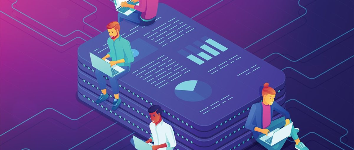 3D illustration of four people using white and blue laptops leaning against a stack of three purple tablets showing charts and data