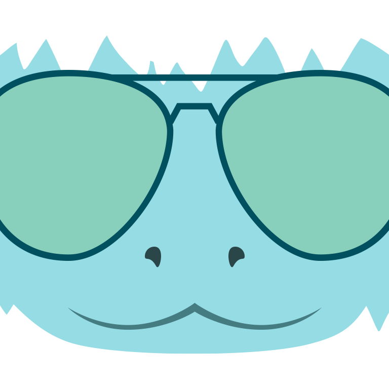 blue cartoon yeti with white fur wearing aviator sunglasses