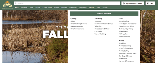 screenshot of product categories being organized based on activities on Eastern Mountain Sports
