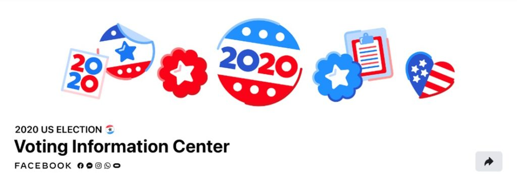 Facebook Voting Information Center graphic with election buttons and stickers