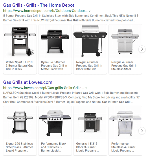 screenshot of rich snippets of gas grill products in organic search on Bing