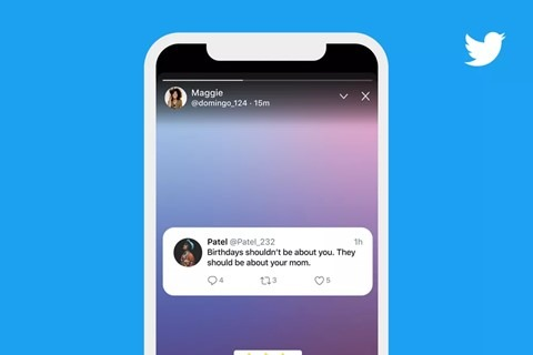 Twitter mobile app showing a Fleet story feature on a white smartphone