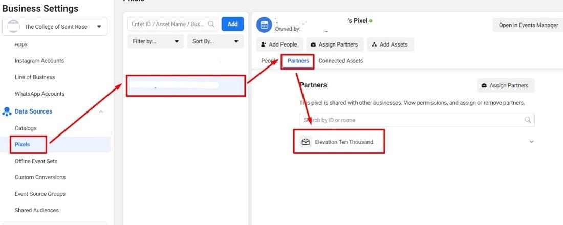 Facebook Business Settings partner pixel sharing tab