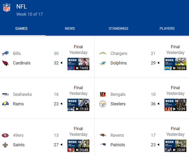 screenshot of a search result for football sports scores using a special content results block